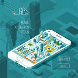 Mobile gps and tracking concept. Location track app on touchscreen smartphone, isometric city map. Mobile gps and tracking concept. Location track app on Royalty Free Stock Image