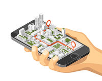 Mobile gps and tracking concept. Location track app on touchscreen smartphone, on isometric city map background Royalty Free Stock Images