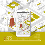 Mobile gps and tracking concept. Location track app on touchscreen smartphone, on isometric city map. Background. 3d vector illustration Stock Photo