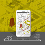 Mobile gps and tracking concept. Location track app on touchscreen smartphone, on isometric city map. Background. 3d vector illustration Stock Images