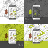 Mobile gps and tracking concept. Location track app on touchscreen smartphone, on isometric city map background. 3d vector illustration Royalty Free Stock Photography