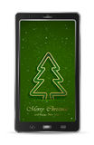 Mobile with green Christmas tree Royalty Free Stock Image