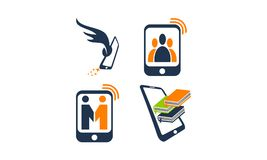 Mobile Group Relationship. Set Vector Stock Images