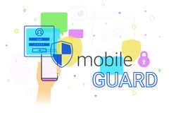 Mobile guard app on smartphone. Concept illustration. Human hand holds smart phone with anti hacker app for internet protection and web safety. Security Royalty Free Stock Photo