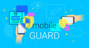 Mobile guard app on smartphone concept illustration. Human hands hold smartphone with anti hacker app for internet protection and web safety. Security Stock Image