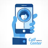 Mobile in hand call center in blue. Mobile in hand, call center vector illustration in blue stock illustration