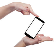 Mobile in hands on an isolated Stock Photo