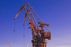 Crane, ship-to-shore crane elements.Transport and technology background stock photos