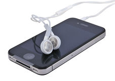 Mobile with headphones Royalty Free Stock Image