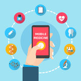 Mobile health with hand hand holding smartphone stock illustration