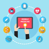Mobile health with hand hand holding tablet Stock Photo