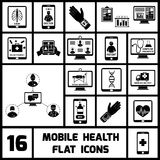 Mobile Health Icons Set Black. Mobile health call doctor distant monitoring icons black set isolated vector illustration Royalty Free Stock Photos