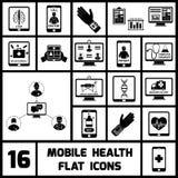 Mobile Health Icons Set Black Royalty Free Stock Photos