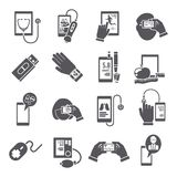 Mobile health icons set black Royalty Free Stock Photography