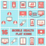 Mobile health icons set flat line Stock Image