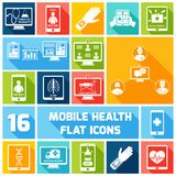 Mobile health icons set flat. Mobile health medicines delivery x-ray monitoring icons flat set isolated vector illustration Stock Images