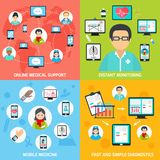 Mobile health icons set flat Stock Photo