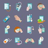Mobile health icons set flat. Mobile health online pharmacy computer diagnostics icons flat set  vector illustration Stock Image