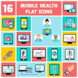 Mobile health icons set Stock Image