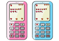 Mobile hearts Stock Images