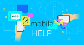 Mobile help and online support on smartphone concept illustration. Human hands hold smart phone with app for chatbot assistance and emergency support. Creative Royalty Free Stock Image