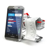 Mobile home budget application concept. Smartphone with shopping. Cart. 3d Royalty Free Stock Photo