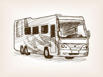 Mobile home bus transport sketch vector. Mobile home bus transport sketch style vector illustration. Old engraving imitation Stock Photo