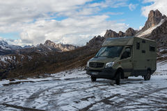 Mobile home in cold winter weather. In Dolomite Alps Stock Photos