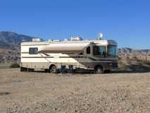 Mobile home in the desert Royalty Free Stock Photos