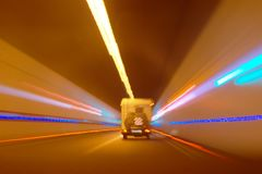 Mobile home driving through the tunnel Royalty Free Stock Photo