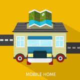 Mobile Home Flat Design Banner Royalty Free Stock Photo