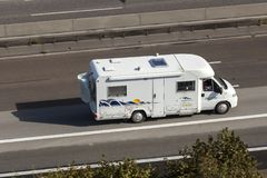 Mobile home on the highway Stock Photo