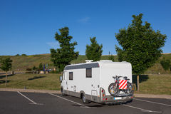 Mobile home in the parking lot Royalty Free Stock Photo
