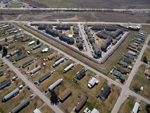 Mobile Home Triangle. Mobile homes form a triangular pattern in rural America Stock Photos