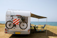 With mobile home on vacation Stock Photography