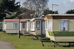 Mobile homes. Holiday homes at English resort Stock Image