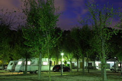 Mobile homes at a camping site. At night stock image