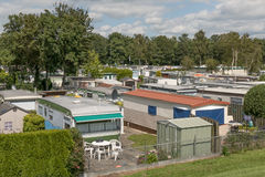 Mobile homes in the town camping Lemmer. Stock Photo
