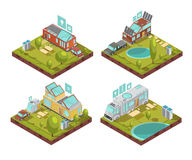 Mobile House Isometric Compositions. Isometric compositions with mobile house, roof solar panels, technologies icons at campsite in summertime isolated vector Royalty Free Stock Image