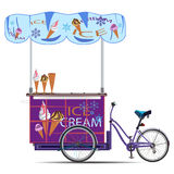 Mobile ice cream bike vector flat illustration Royalty Free Stock Images