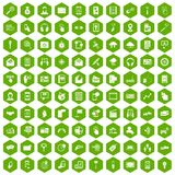 100 mobile icons hexagon green. 100 mobile icons set in green hexagon isolated vector illustration Stock Photos