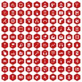 100 mobile icons hexagon red. 100 mobile icons set in red hexagon isolated vector illustration Stock Image