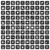 100 mobile icons set black. 100 mobile icons set in black color isolated vector illustration royalty free illustration