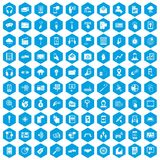 100 mobile icons set blue. 100 mobile icons set in blue hexagon isolated vector illustration Royalty Free Illustration
