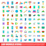 100 mobile icons set, cartoon style. 100 mobile icons set in cartoon style for any design vector illustration Royalty Free Stock Photography