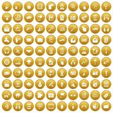 100 mobile icons set gold. 100 mobile icons set in gold circle isolated on white vector illustration vector illustration