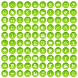 100 mobile icons set green. 100 mobile icons set in green circle isolated on white vectr illustration Royalty Free Stock Images