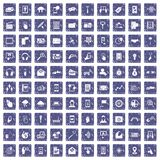 100 mobile icons set grunge sapphire. 100 mobile icons set in grunge style sapphire color isolated on white background vector illustration stock illustration