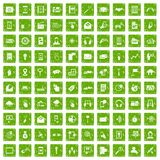 100 mobile icons set grunge green. 100 mobile icons set in grunge style green color isolated on white background vector illustration Stock Image