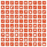 100 mobile icons set grunge orange. 100 mobile icons set in grunge style orange color isolated on white background vector illustration Royalty Free Illustration